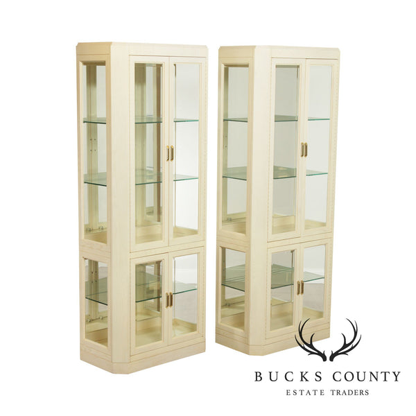American Of Martinsville Modern Pair Lighted Curio Display Cabinets
