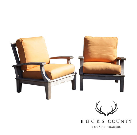 Gloster Teak Pair Patio Lounge Chairs