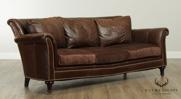 Bloomingdales Quality Distressed Brown Leather Sofa