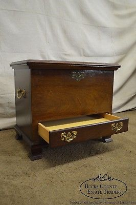 Chippendale Style Small Mahogany Lidded Chest with Drawer