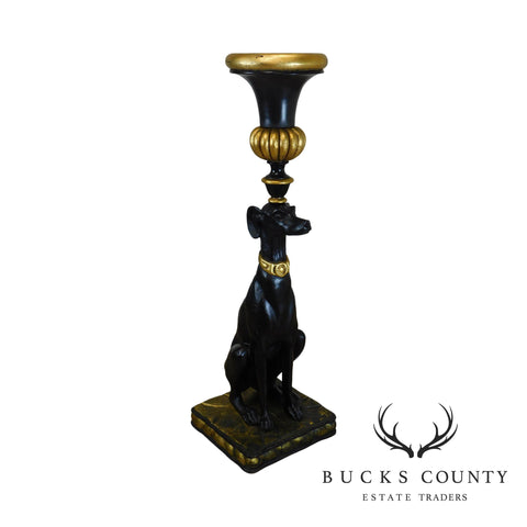 Black & Gold Greyhound Dog Statue Pedestal Urn Planter Stand