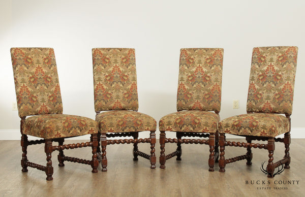 French Louis XIII Style Quality Set 4 Barley Twist Dining Chairs