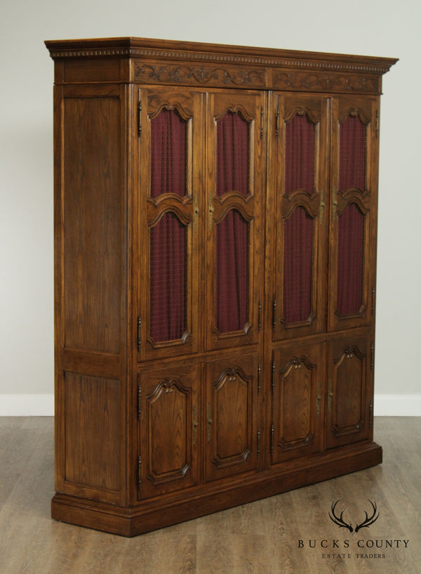 Baker French Country Style Oak China Cabinet Armoire