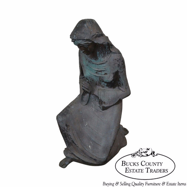 Large Antique Bronze Garden Statue of Woman Praying