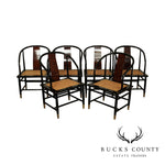 Henredon Scene Three Asian Style Black Lacquer & Burl Wood Set 6 Dining Chairs