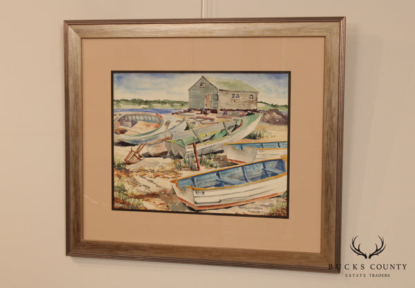 M. Herdt Original Watercolor Painting of Beached Boats