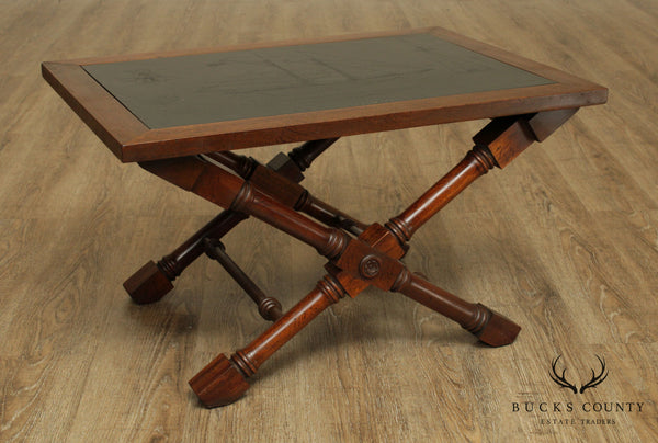Campaign Style X Base Mahogany Engraved Nautical Slate Top Coffee Table