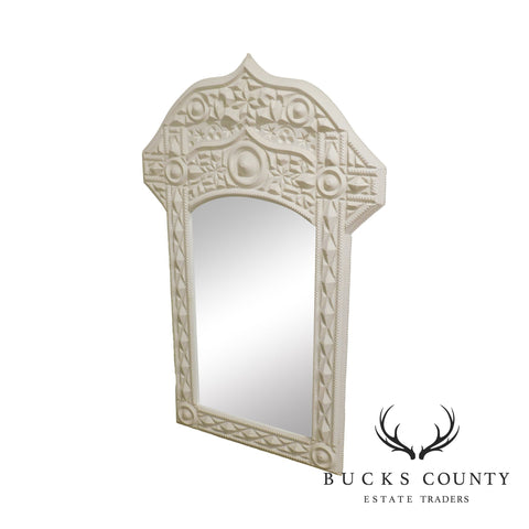 Hollywood Regency Vintage White Middle Eastern Style Mirror