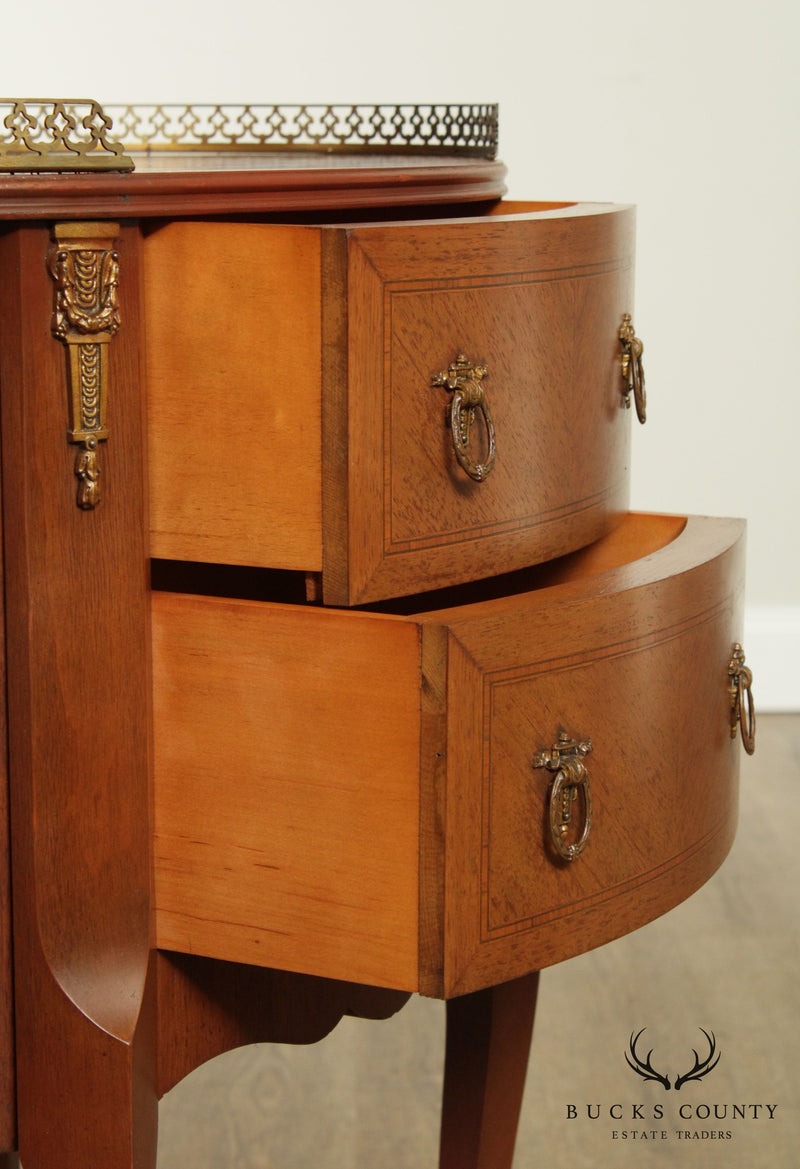 French Louis XV Style Vintage Walnut Marquetry Inlaid Oval Pair Nightstands