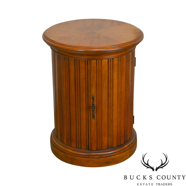 French Louis XVI Style Vintage Fruitwood Round Cylinder Cabinet Side Table