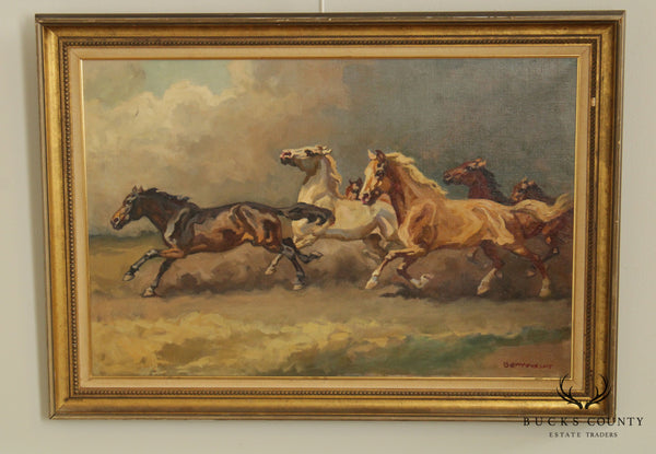 Benyovszky (1898-1969) Mid Century Framed Oil Painting of Running Horses