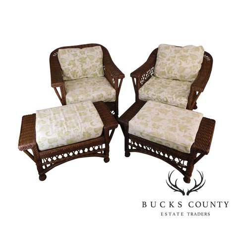 Quality Wicker Pair Lounge Chairs with Ottomans