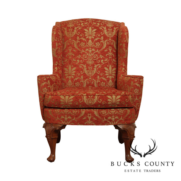 Custom Quality Fine Upholstered Queen Anne Wing Chair