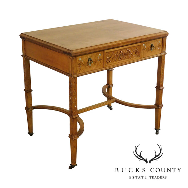 Newman & Co Antique Aesthetic Birdseye Maple Marquetry Inlaid One Drawer Vanity Table