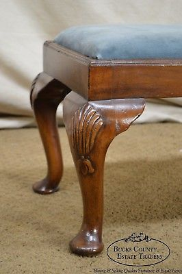Queen Anne Style Custom Mahogany Long Footstool