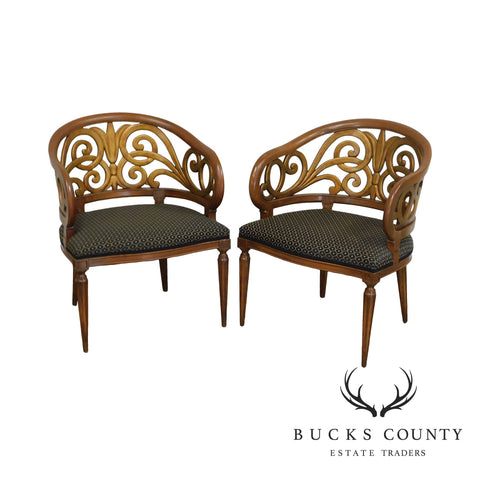 Hollywood Regency Vintage Pair Carved Barrel Back Armchairs - James Mont