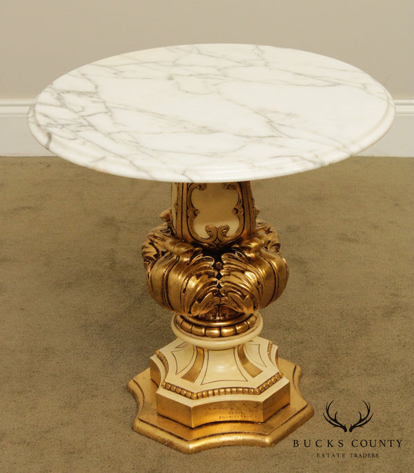 Fuggiti Studios Vintage Italian Round Marble Top Gilt Carved Side Table