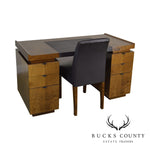 French Art Deco Style Pedestal Desk with Chair