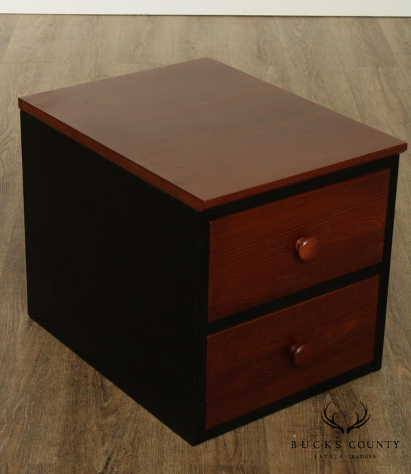 Ethan Allen American Impressions Black and Cherry 2 Drawer Desk Top Chest