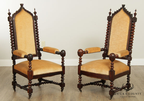 Gothic Revival Fine Quality Antique Pair Rosewood Armchairs