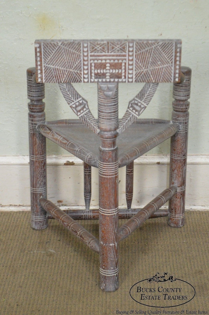 Cerused Oak Antique Aesthetic Carved Set of 6 Turners Chairs