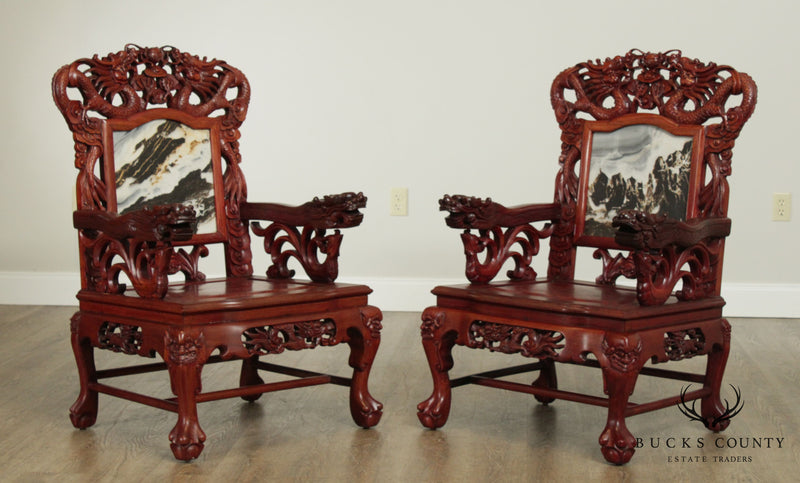 Chinese Rosewood Vintage Pair Dragon Carved Marble Back Armchairs