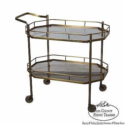 Mid Century Brass & Glass Two Tier Rolling Server Cart