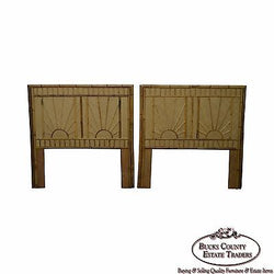 Rattan & Bamboo Sunburst Pair of Twin Headboards