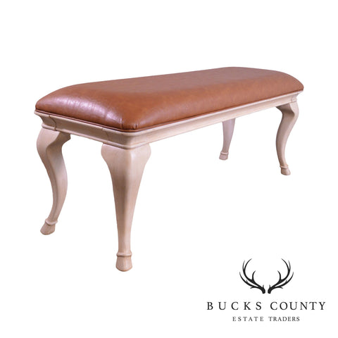 Quality Cerused Hoof Foot Brown Leather Window Bench