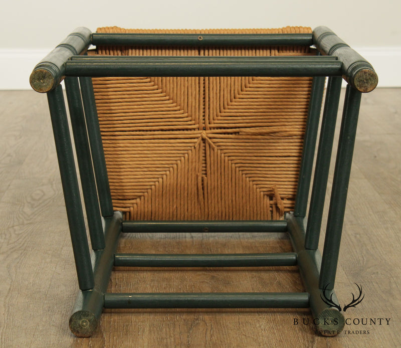 Country Style Green Painted Rush Seat Ladder Back Counter Stool