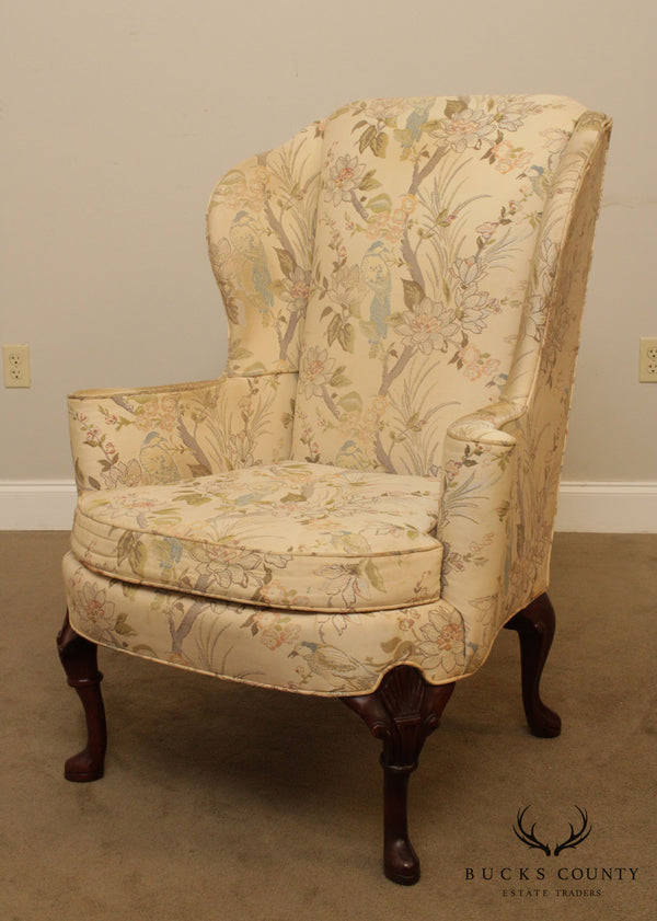 Hickory Chair Vintage Mahogany Queen Anne Style Wing Chair Frame