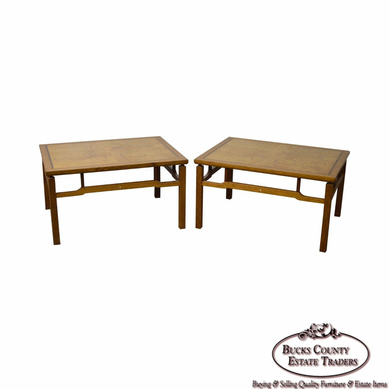 Ellis Walentine Bucks County Studio Crafted Pair of Large Burl Wood Side Tables