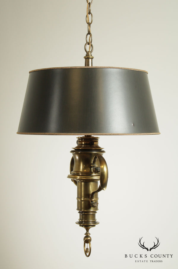 Stiffel Vintage Colonial Revival Hanging Brass Lamp Chandelier W/ Shade