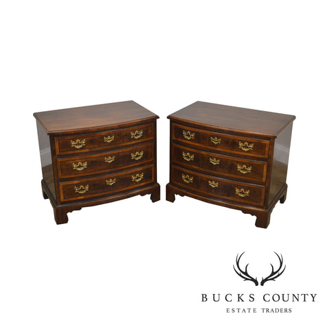 Henredon Aston Court Mahogany & Burlwood Pair Bow Front Chests Nightstands