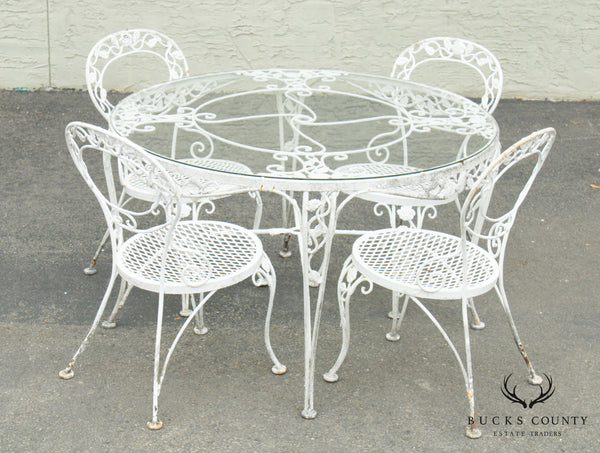 Woodard Chantilly Rose Vintage Wrought Iron 5 Piece Dining Set, Round Table