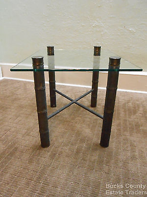 Vintage Midcentury Hollywood Regency Faux Bamboo Brass Based Glass