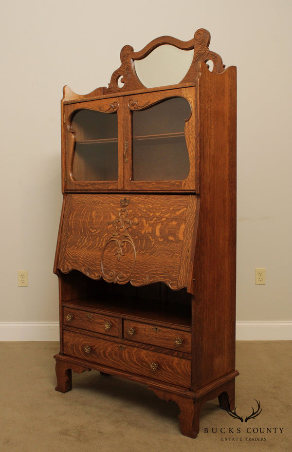 Antique Victorian Oak Bookcase Secretary Desk