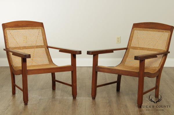 British Colonial Anglo Indian Caned Hardwood Pair Armchairs