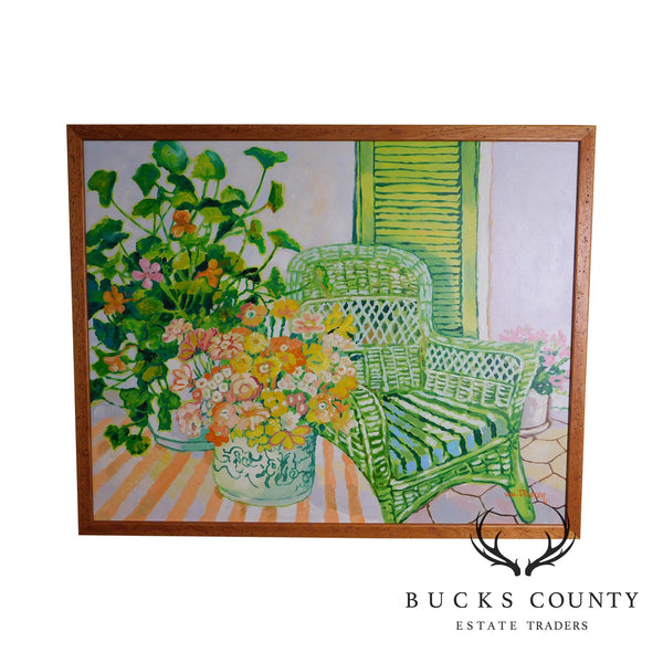 LLoyd Van Pitterson, Untitled, Wicker Armchair on Porch with Flowers Oil Painting