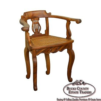 Anglo Indian Solid Padauk Wood Carved Lyre Back Cane Seat Arm Chair