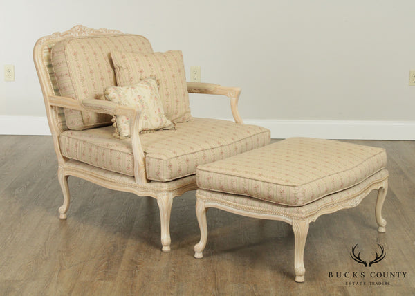 French Louis XV Style White Washed Fauteuil Chair with Ottoman