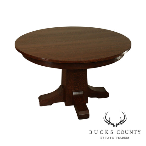 "L & J G Stickley Antique Mission Oak Arts & Crafts 48"" Round Pedestal Dining Table"