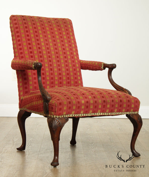 Queen Anne Style Vintage 1920's Carved Walnut Armchair