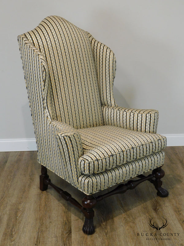 Baker Stately Homes Collection Spanish Baroque Large Mahogany Wing Chair