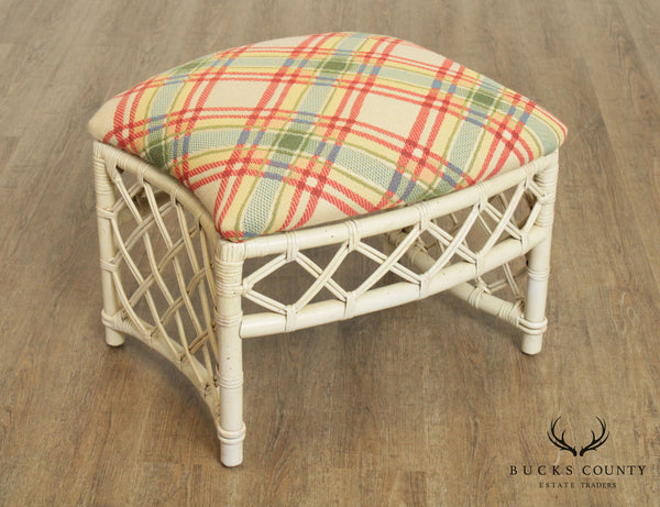 Ficks Reed Vintage White Painted Rattan Base Ottoman