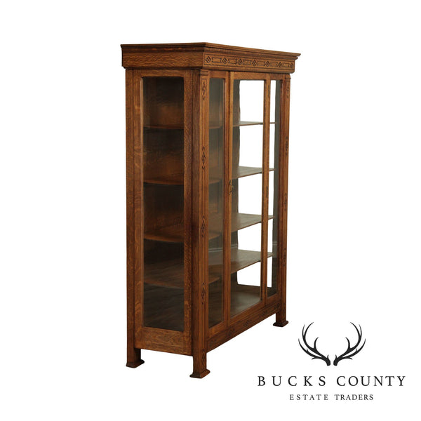 Antique Arts & Crafts Oak China Cabinet, Bookcase