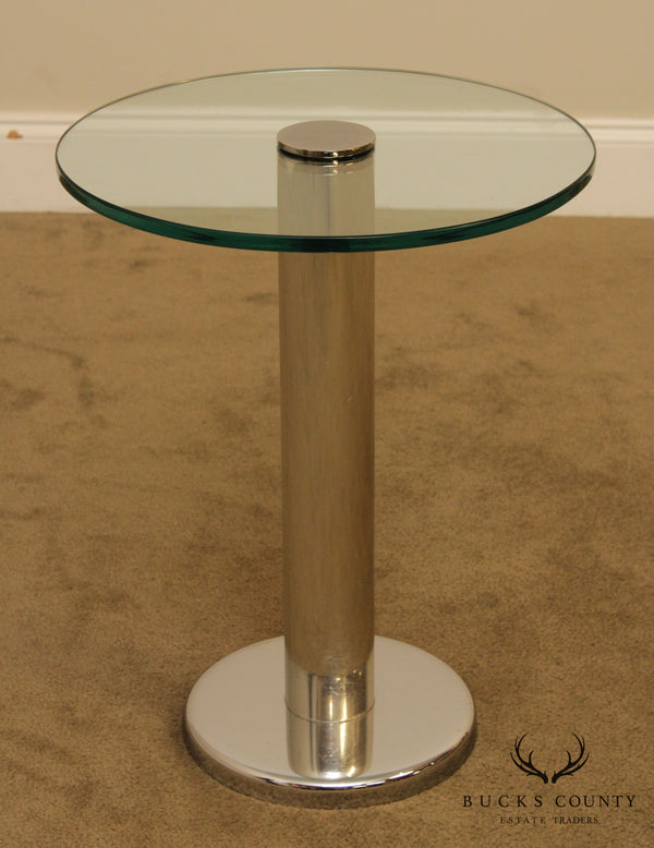 Paul Mayan for Habitat Round Glass Top Chrome Cylinder Side Table