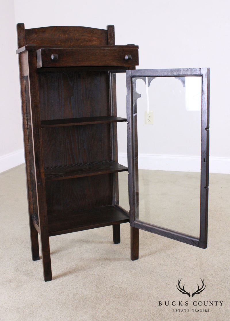 Antique Arts & Crafts Oak Childs Size China Cabinet