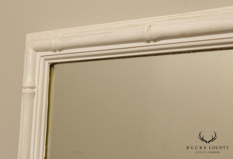 Hollywood Regency Vintage White Painted Faux Bamboo Wall Mirror