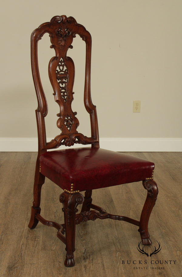 Antique Dutch Rococo Style Carved Walnut High Back Side Chair